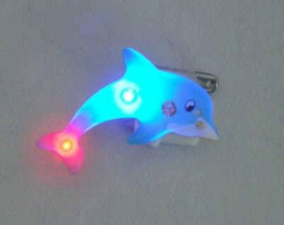 10 Dolphin Flashing LED Light Blinky Lapel Jewelry Pin Kids Party Favor Filler