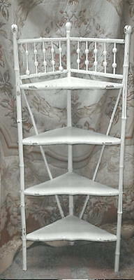1880s Eastlake Antique Bamboo Stick and Ball Tall Etagere Shelf,Chippy White VG