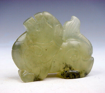 Old Nephrite Jade Hand Carved Sculpture Seated FOO DOG Lion Looking Up #05201705
