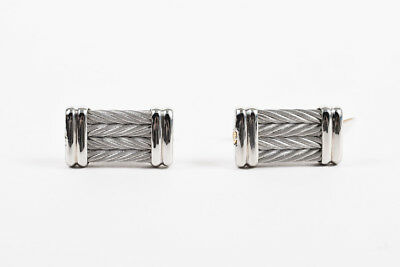 MENS Alor NWT $295 Gray Stainless Steel 18K Yellow Gold Cable Cuff Links