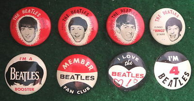 Beatles 1964 Orig. 8 Different Pinback Buttons Pins Exc. Collector's Quality #2