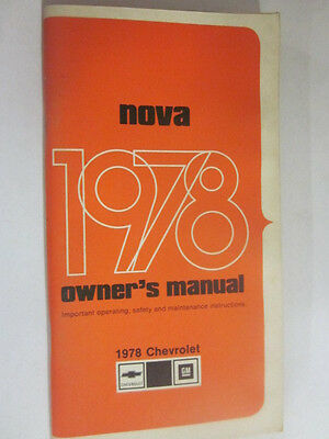 1978 Chevrolet Nova Owner's Manual 1st Edition 460296A