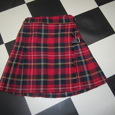 Girls Retro Classic Red Wool Blend Kilt Skirt Marks Spencer Baker Street Size 8