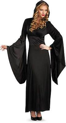 Hooded Robe Black Vampire Sorceress Witch Costume Adult Women Halloween Dress