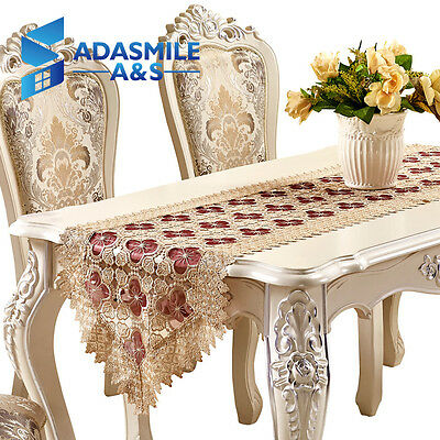 Crochet Floral Lace Table Topper Tapestry Table Runners Wedding Dinner Decor
