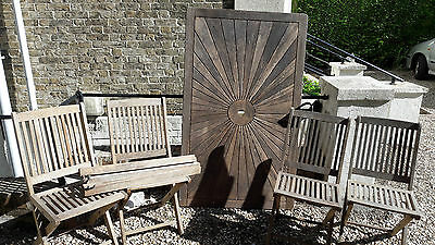Garden, Patio, Furniture Set, Table, 4 Chairs, Hardwood