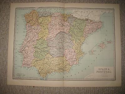 Superb Antique 1875 Spain Portugal Map Balearic Islands Old New Castile Rare Nr