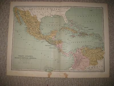 Antique 1875 West Indies Mexico Central America Map Cuba Puerto Rico Bahamas Nr