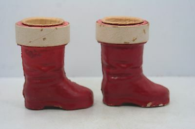 "Pair of Vintage Paper Mache Santa Boots Candy Containers - 3 1/2"" High"