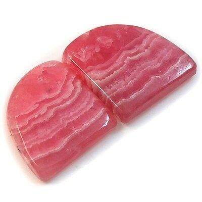 27Ct Natural Rhodochrosite (approx. 22mm X 16mm each) Cabochon Pair RR2