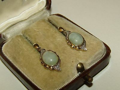 Fine, Antique, Chinese 9 Ct Gold Earrings/mutton Jade/old Mine Cut Diamonds