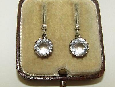 Brilliant, Antique, Georgian Sterling Silver Trembleuses Earrings/rock Crystal