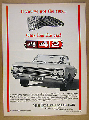 1965 Olds 442 4-4-2 Convertible oldsmobile photo vintage print Ad