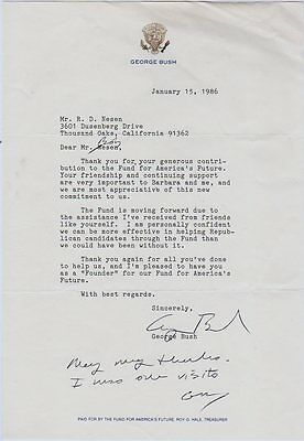 1985 Vice President George Bush Signed Letter  Autograph