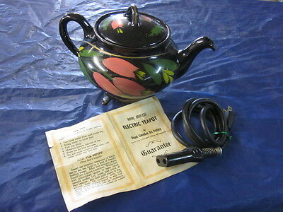 Vintage Royal Canadian Art Pottery Dripless Electric Teapot Kettle NICE