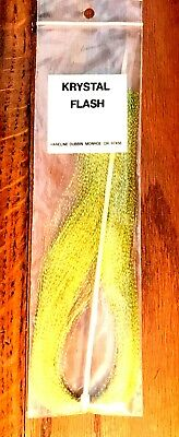 1 Pack Hareline Dubbin Krystal Flash Fly//Teaser Tying Material HOT YELLOW