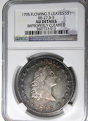 1795 Flowing Hair $1 Ngc Au Det One Of The Prettiest Coins You Will Ever See !!