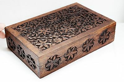 Lovely Vintage Hand Carved Wooden Box with Floral Pattern on Hinged Lid.