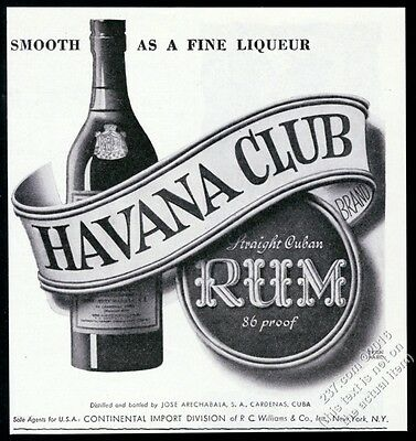 1944 Havana Club Rum bottle art Smooth as a Fine Liqueur vintage print ad
