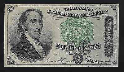 1863 50 CENT FRACTIONAL FR# 1379 Green Seal 4th Issue Dexter NOTE