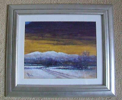 Original Signed Acrylic Painting The Malvern Hills Winter By Peter Wale Framed