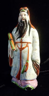 Chinese Vintage Hand Painted Porcelain Statue Tao Wiseman Buddhism Immortal God