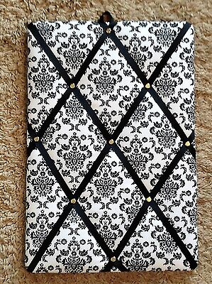"Damask on White with Black Ribbon French memo board (10""x15"")"