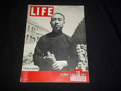 1943 Dec 13 Life Magazine - Citizen Of Sinkiang - Beautiful Front Cover - Gg 643