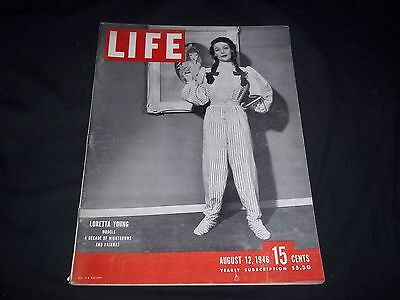 1946 August 12 Life Magazine - Loretta Young - Beautiful Front Cover - Gg 145