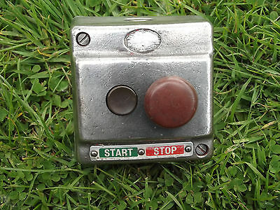 Old Antique Vintage Industrial  Polished Metal Stop / Start Switch