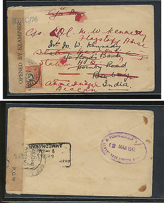 Kenya  nice censor cover to India  redirected  1943                 AT0628