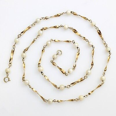 "9ct Gold & Seed Pearl Chain Twist Link Necklace 23"" 59cm Hallmarked 1985 7.5g"