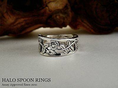 Very Pretty Ladies Swedish Silver Spoon Ring With Trailing Rose Detail
