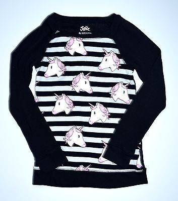 Justice Girls 8 Striped Unicorn Graphic Pullover Sweater Knit Top JW1