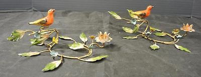 Antique Italian Cold Painted Floral & Aviary Candle Holders