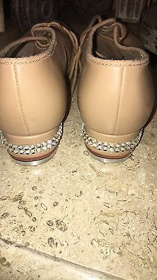 BLOCH Adult SIZE 8.5 M 8-1/2 TAN LEATHER Techno Tap Shoes W/ Rhinestones 💗