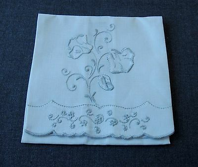 Antique Hand Embroidery Flowers Linen Towel Azores Portugal With Tag Unused