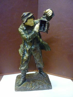 Fantastic Signed Antique Patinated Bronze Figure Of A Wrecker