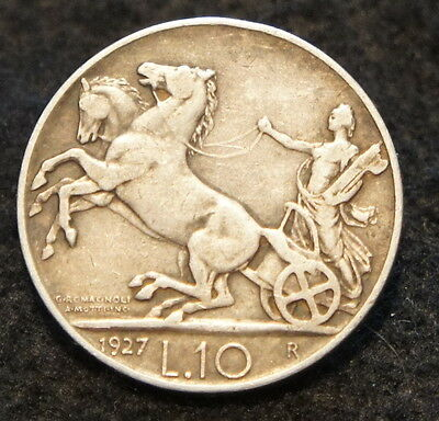 1927R Italian 10 Lire VF Condition Excellent 80% SILVER Collectible Coin NICE!