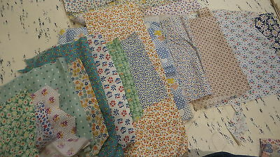 Lot of Antique Cotton Fabric Pieces SMALL PASTEL PRINTS