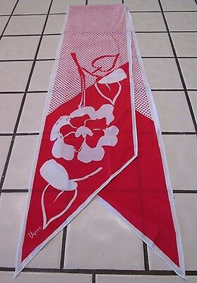 "Vintage Vera  Scarf red and white polka Floral Scarf 58"" X 7"""