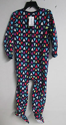 6f6515a9c47c NWT CARTERS 1PC. Fleece Zip Footed Navy red blue Hearts Pajamas 4T ...