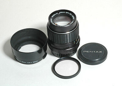 SMC ASAHI - PENTAX-M f2.8 100mm Short Telephoto Lens+ Hood-EXCELLENT Condition