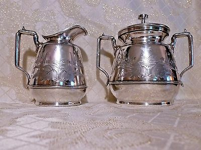 Rogers Smith Large Creamer And Sugar Bowl With Lid Silver Plated Floral Design