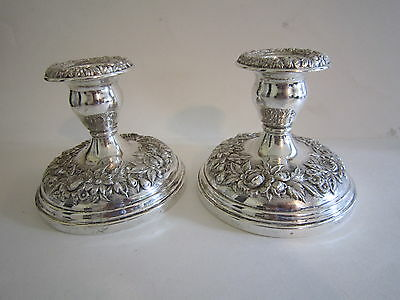 Pair of S. Kirk & Son Sterling Silver Repousse Candlesticks