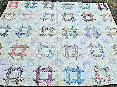 Vintage  Churn Dash  Quilt Hand Pieced And Hand Stitched   All Cotton