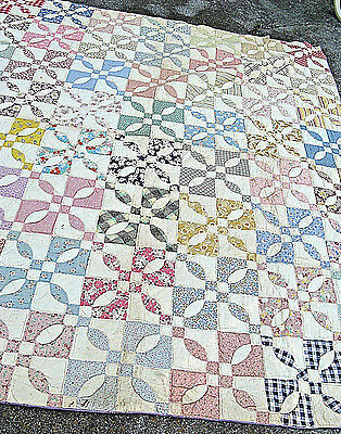 Vintage Four Patch Quilt Hand Pieced And Hand Stitched   All Cotton