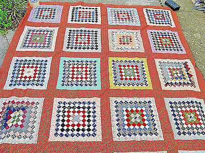 Fabulous  POSTAGE STAMP QUILT TOP All Hand Done COTTON COLORFUL FABRIC VINTAGE