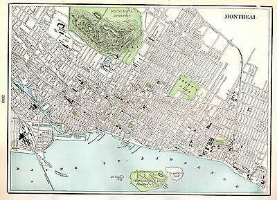 1904 Antique MONTREAL Canada Map Vintage Map of Montreal Gallery Wall Art 3776