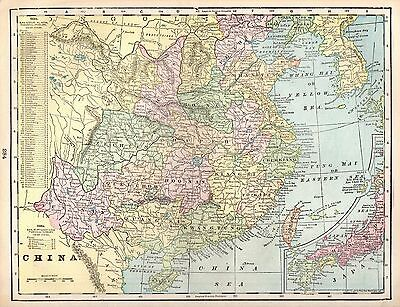 1900 Antique CHINA Map of China and JAPAN Map Beautiful Original Map 3780